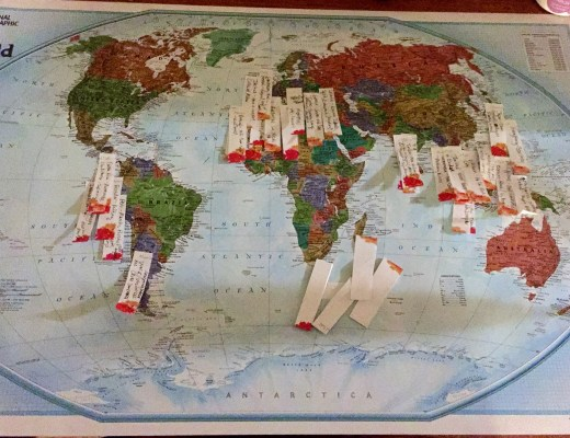 Our world map after the first around the world trip planning session.
