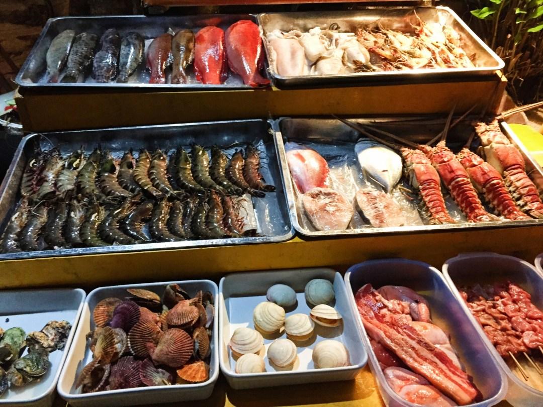 Fresh seafood on display.