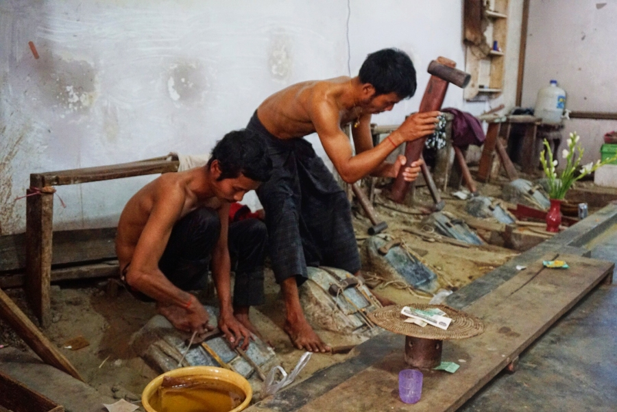 Gold leaf workshop, Mandalay, Myanmar, local trade, hard work