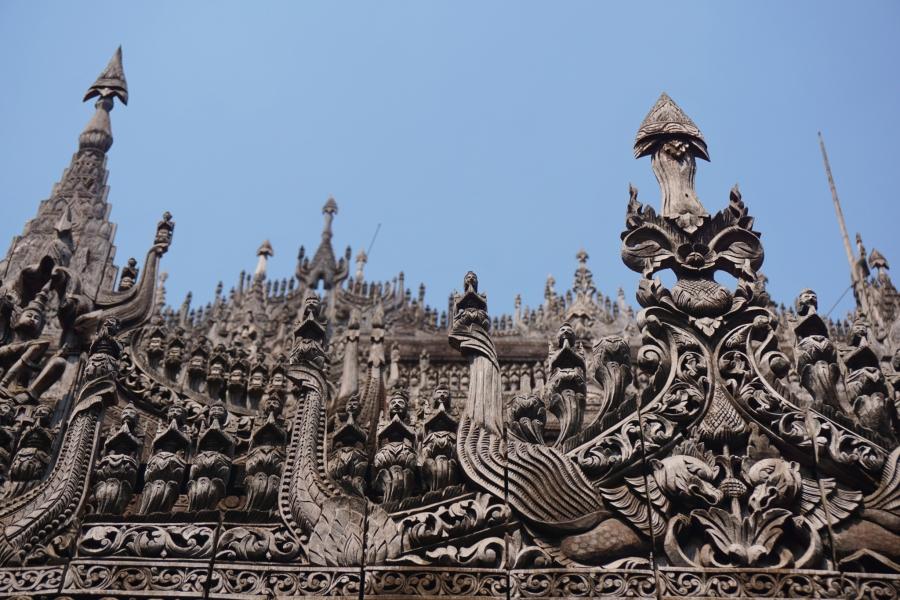 Woodwork in Myanmar, Mandalay. motorbike tour, carvings
