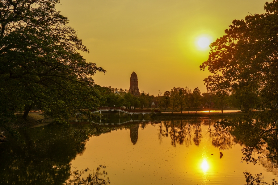 Sunset in Ayutthaya is great for travel photography.