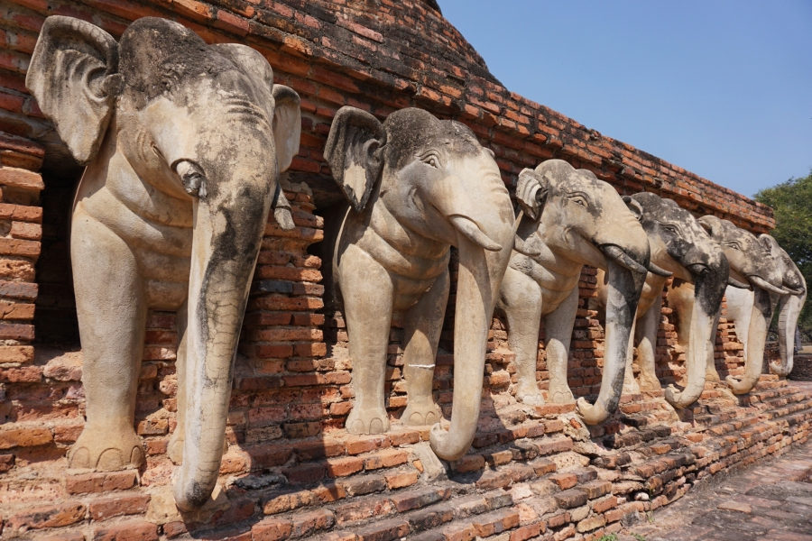 Wat Sorakan, Sukhothai, Thailand, ruins, elephants, stonework