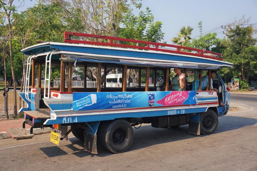 The blue commuter bus to Sukhothai, Thailand, ancient, ruins, Southeast Asia