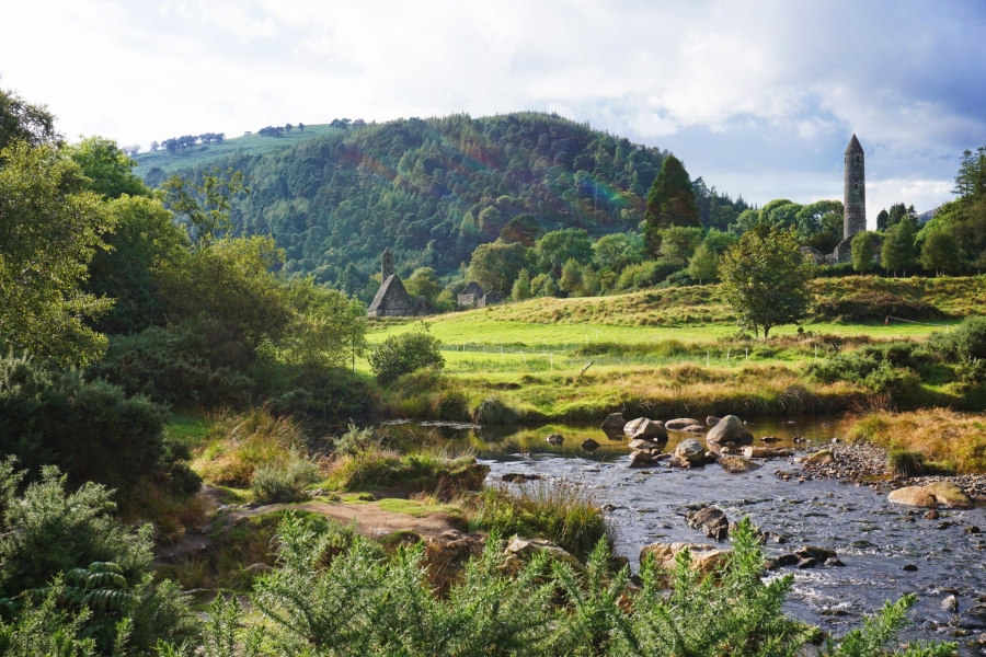 Glendalough, Ireland is home to monastic ruins, hiking trails, and an interpretive center.