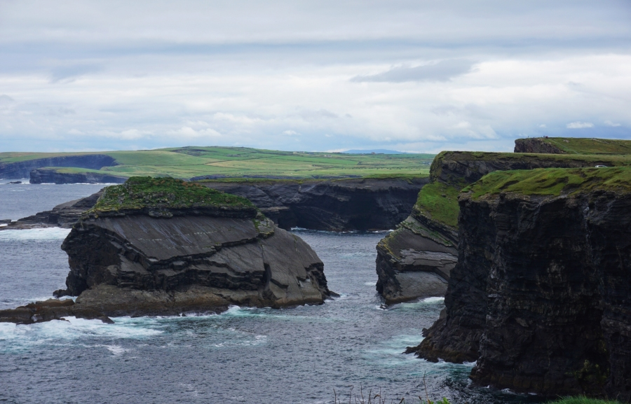 The Kilkee Cliffs come into view sortly after passing through the seaside town of Kilkee, on the Wild Atlantic Way in Ireland.