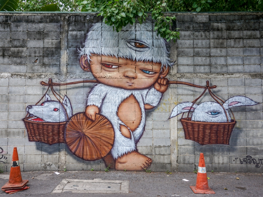 Street art in Bang Rak, Bangkok
