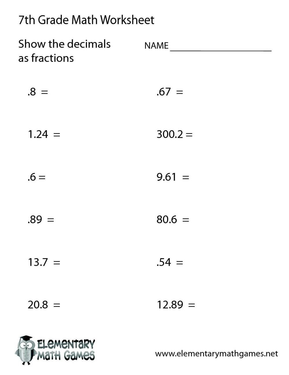 medium resolution of Printable Math Worksheets For 7th And 8th Graders – Benderos Printable Math