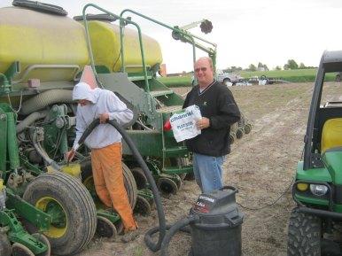 Replanting corn.