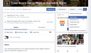 Adding Facebook Events to your Page