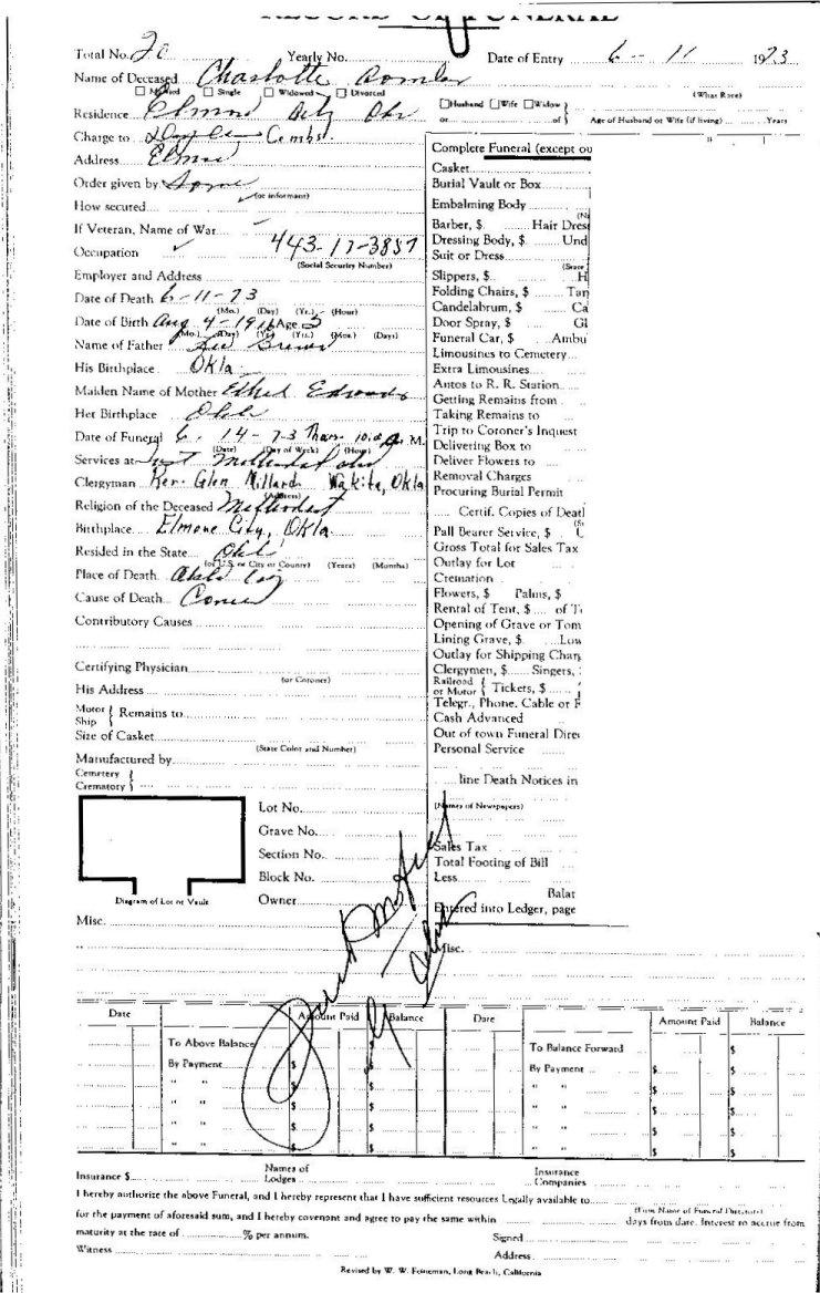 Elmore City Funeral Homes C Surnames, Elmore City, Garvin