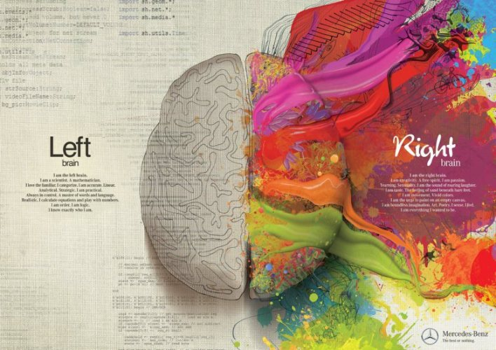 Mercedes Benz Ad Graphically Illustrates Left Brain – Right Brain Function While Questioning Are you Free?