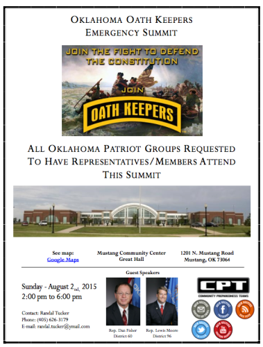 Oath Keepers Emergency Summit in Mustang on Sunday  - August 2nd