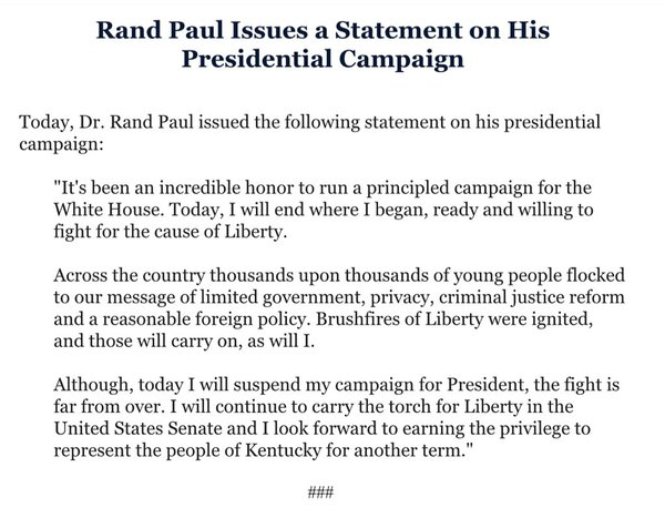 Rand Paul Campaign Statement