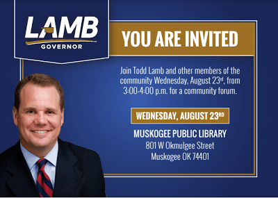 MuskogeePolitico: Lt. Gov. Lamb to hold town hall in Muskogee on Wednesday