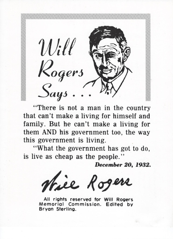 Will Roger's Message To Oklahoma Tall Building Crowd Legislators