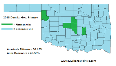 MuskogeePolitico/Election Results Map: Dem LtGov Primary