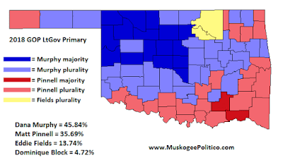 MuskogeePolitico:  Election Results Map: GOP LtGov Primary