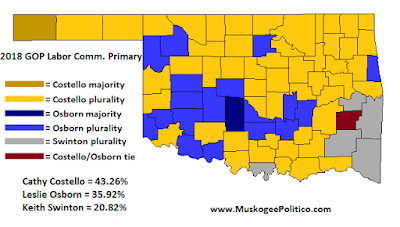 MuskogeePolitico/Election Results Map: GOP Labor Comm Primary