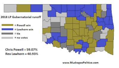 MuskogeePolitico:  Election Results Map: Libertarian Gubernatorial runoff