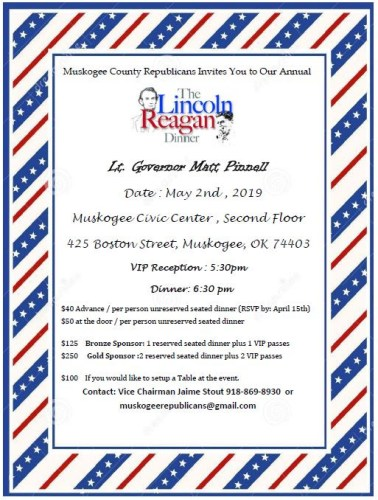 MuskogeePolitico:  Pinnell to keynote Muskogee GOP Lincoln-Reagan Dinner