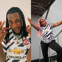 Burna Boy, DJ Cuppy unveils Manchester United's third kit