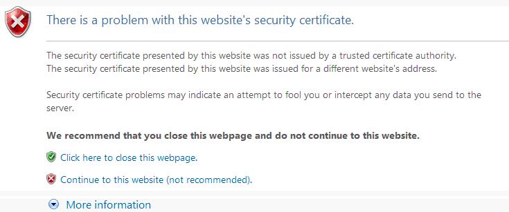 Fix: Es liegt ein Problem mit dem Sicherheitszertifikat dieser Website vor