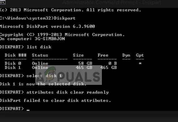 Fix: Diskpart konnte die Festplattenattribute nicht löschen