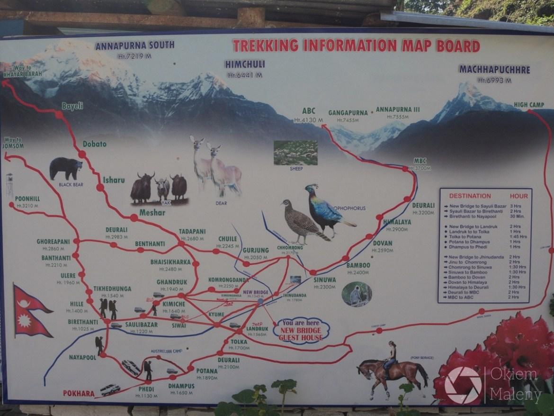 mapa tras trekingowych w Nepalu