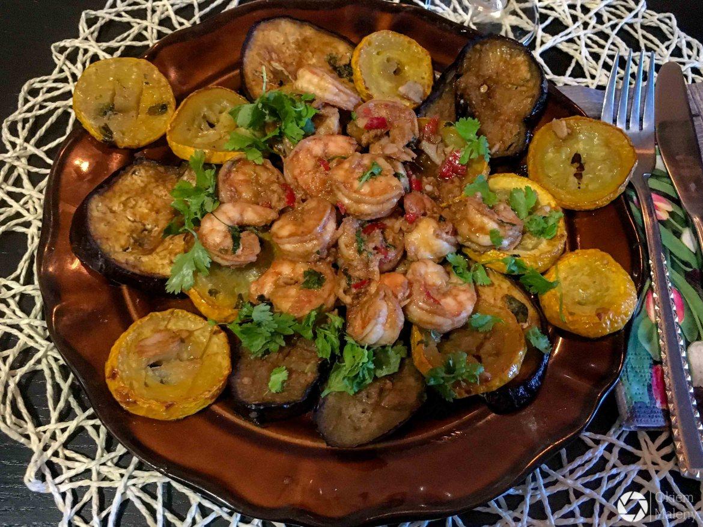 Grillowane warzywa z krewetkami