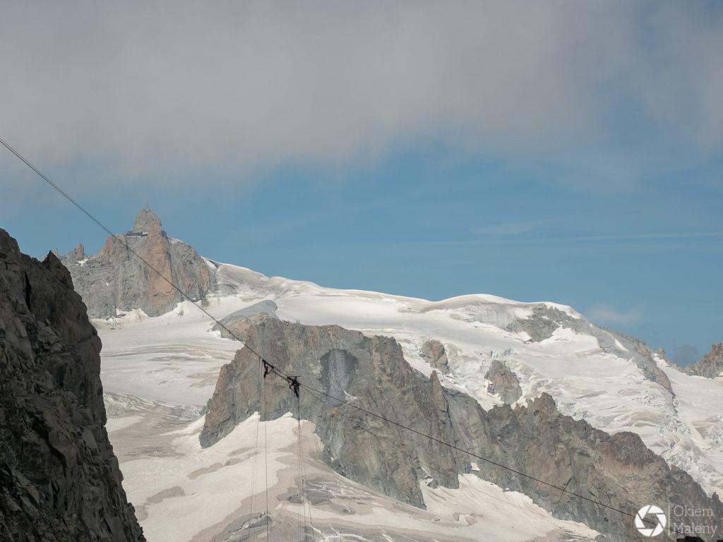Aiguille du Midi widok z Punta Helbronner