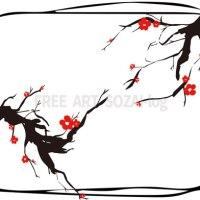 和風イラスト素材「梅フレーム」