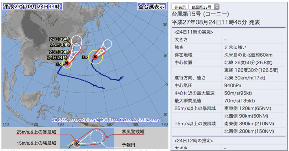 気象庁より台風15号の情報