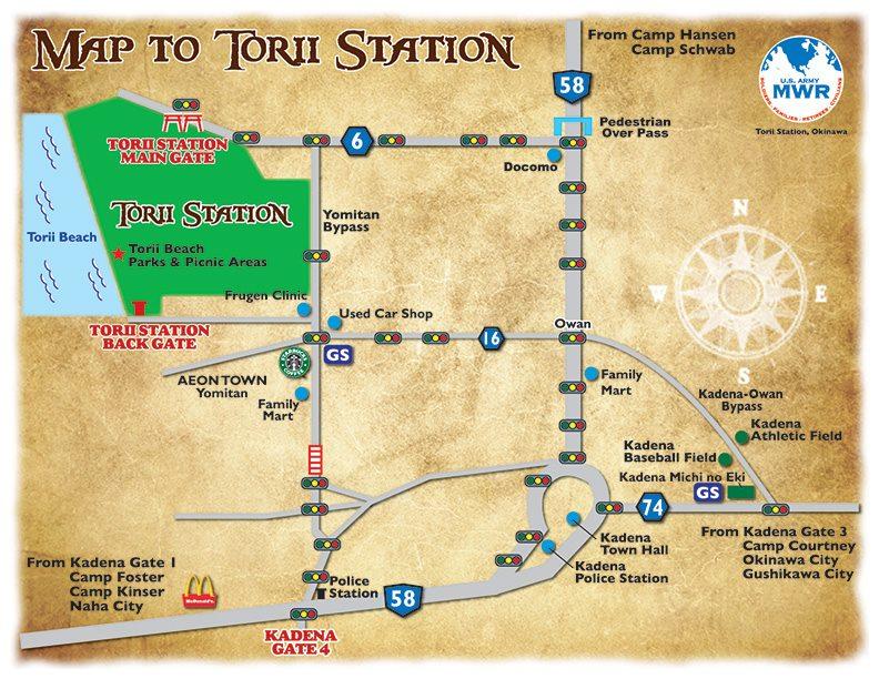 トリイ・ビーチへのアクセス地図
