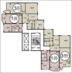 Планировка квартир дома серии П44 угловой подъезд