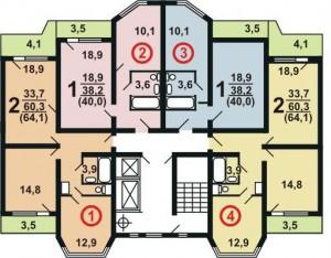 Планировка квартир дома серии П44К