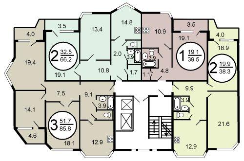 Планировка квартир дома серии П44ТМ