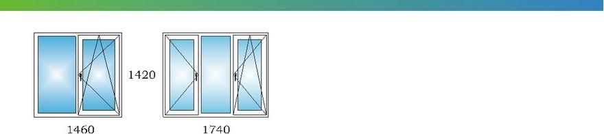 Окна в однокомнатной квартире дома П3 с размерами С