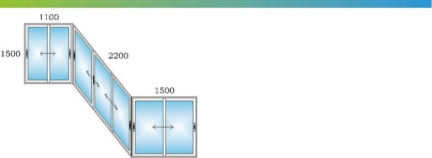 Алюминиевые окна на лоджию сапожок дома П3 с размерами Э
