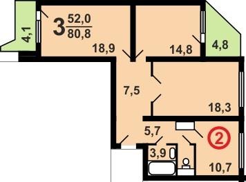 План трехкомнатной угловой квартиры в доме серии П44Т