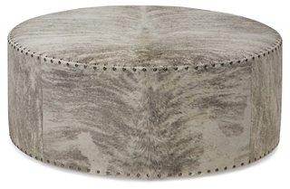 callisto ottoman gray ivory brindle leather