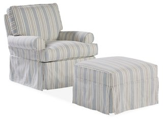 swivel club chair with ottoman round bedroom recliners gliders chairs one kings lane sophie set federal blue