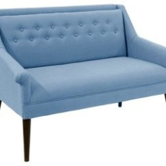 French Linen Tufted Sofa Albion Bella Settee Blue Settees Sofas Living Room Furniture One Kings Lane