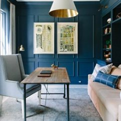 Navy Office Chair Nautical Bedroom Instagram's Favorite Fall Trend: Dramatically Dark Accent Walls