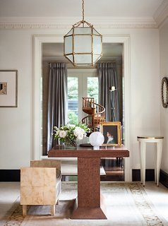 living room furniture atlanta small ideas inside suzanne kasler s stunningly serene home one kings below a 1940s french lantern burl wood table anchors the light filled