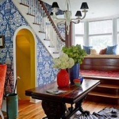 Best Color For Living Room Wallpaper Flush Ceiling Lights Uk These 6 Lessons In Will Change The Way You Decorate One Entryway A Bright And Playful By David Hicks Gives Sense Of