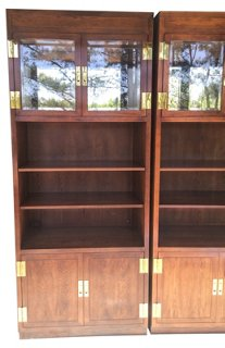 Campaign-Style Henredon Cabinets, Pair