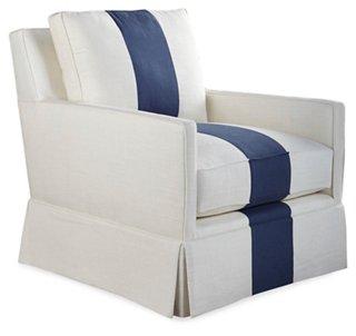grey club chair dog proof covers chairs one kings lane auburn indigo stripe