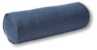 anne bolster pillow navy linen