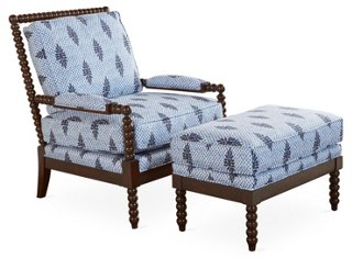 Bankwood Spindle Chair  Ottoman Blue  Chairs  Living