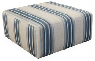 Miles Cocktail Ottoman, Blue Stripe